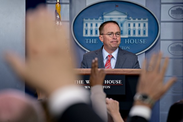 Mulvaney during a news conference in the White House press briefing room on Thursday.