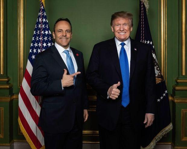 Kentucky Gov. Matt Bevin (R) poses with President Donald Trump
