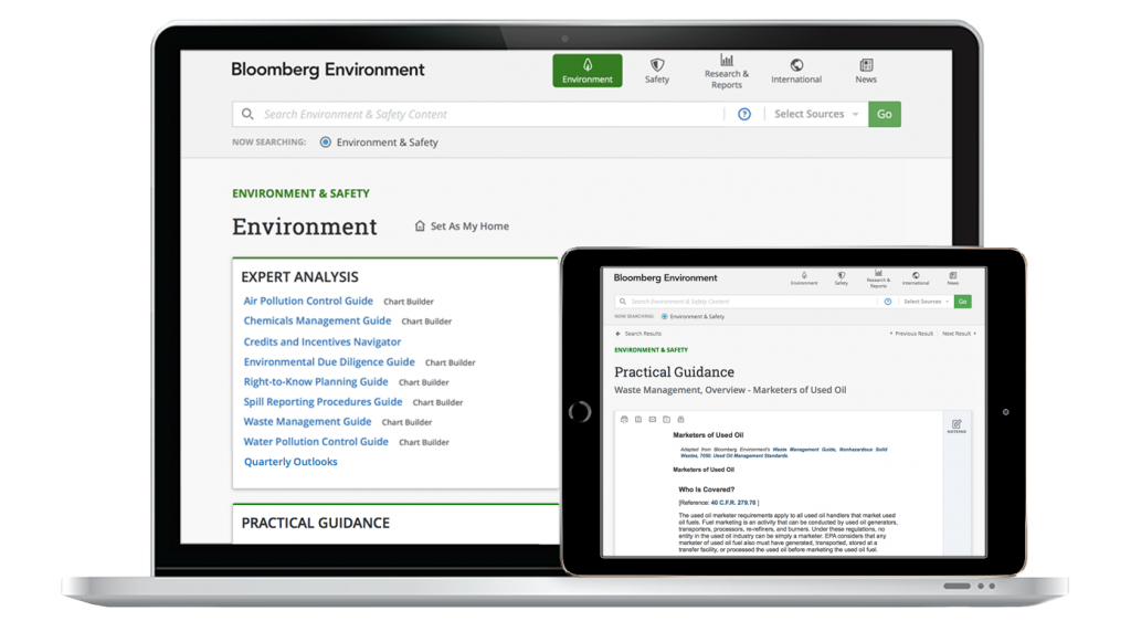 Environment and Safety Product From Bloomberg Environment | EHS