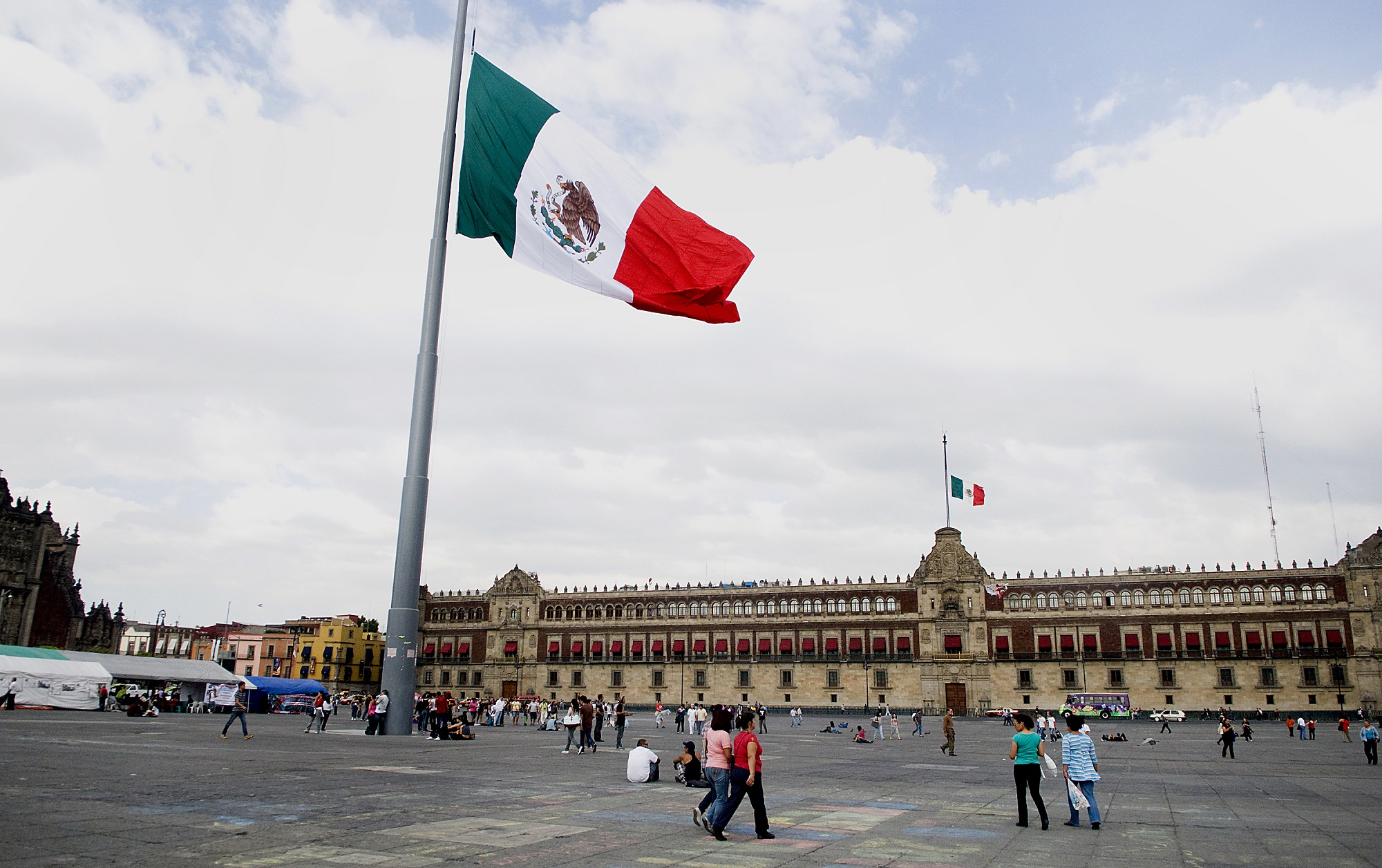 General views of the Z—calo, a plaza in the historic center of Mexico City, Mexico, on Monday, May 21, 2012.