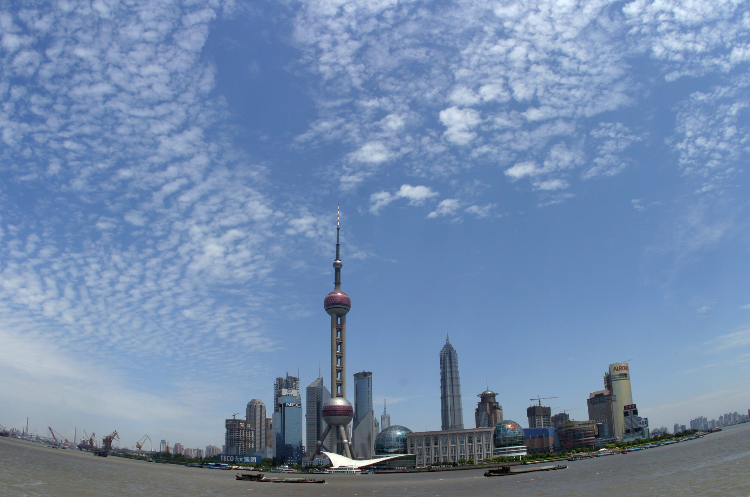 This picture shows the Pudong skyline in Shanghai, China on 01 June 2004.  (Photo by Kevin Lee/Bloomberg News)