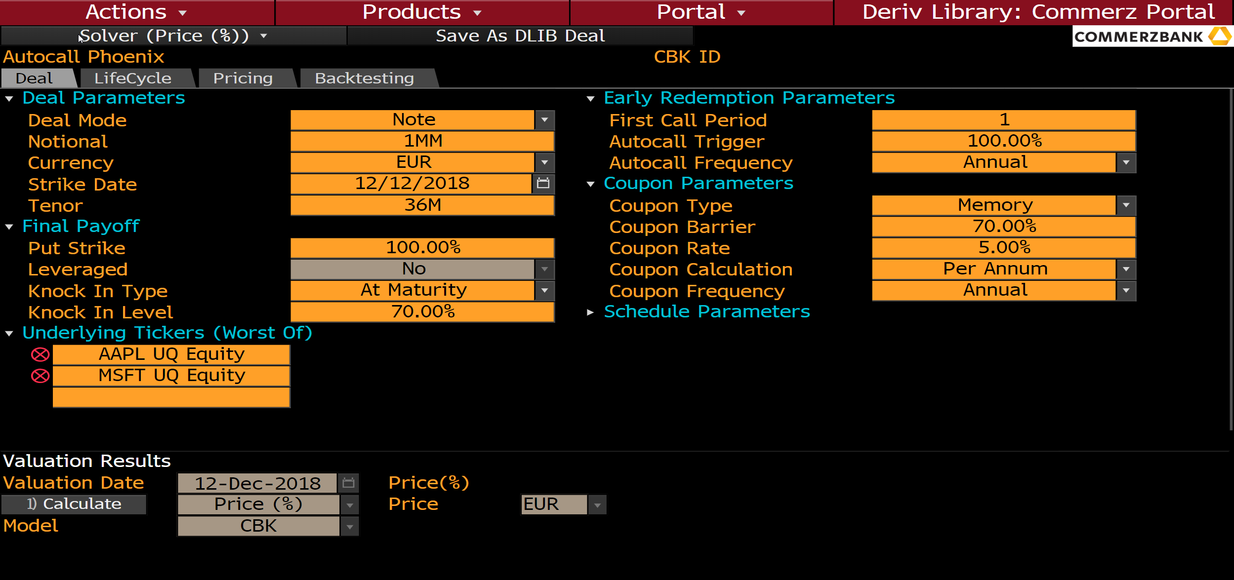 Commerzbank Offers Real Time Structured Product Pricing On Bloomberg Dlib L P
