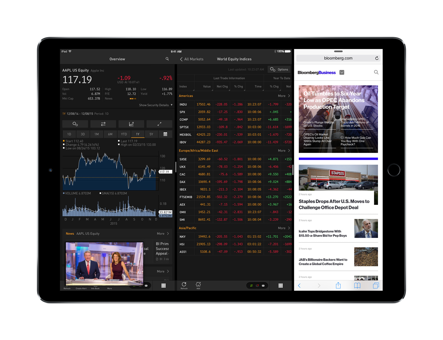 Multitasking with the Bloomberg Professional app on iPad Pro