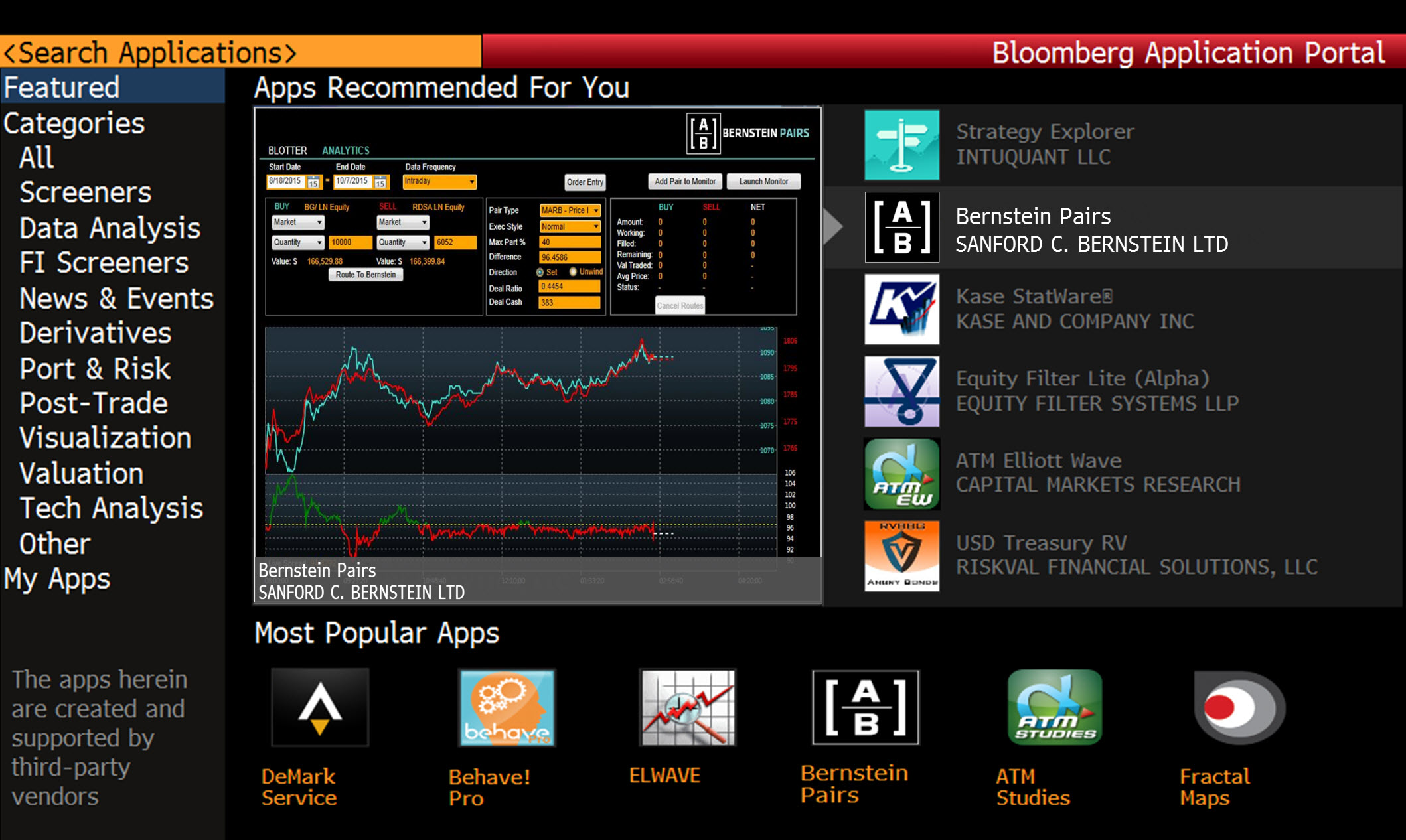 Bernstein Launches Pairs Trading Application on the