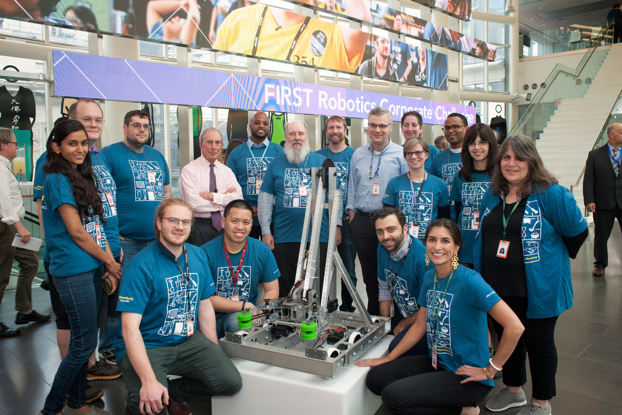 New York FIRST Robotics Mentors with Mike Bloomberg and Vlad Kliatchko